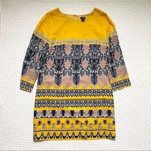 J. Crew factory gold printed drapey shift size 8